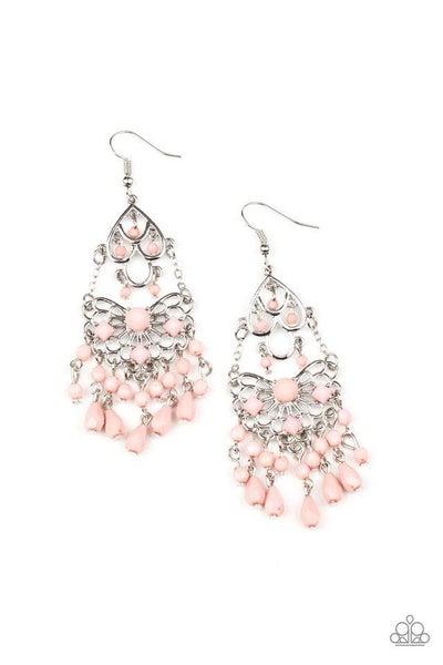 Paparazzi Earring ~ Glass Slipper Glamour - Pink