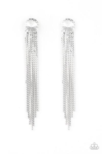 Paparazzi Earring ~ Level Up - White