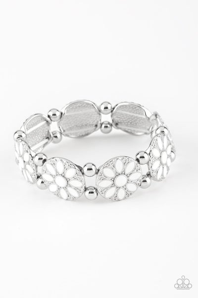 Paparazzi Bracelet ~ Dancing Dahlias - White