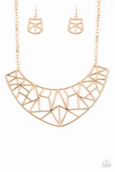 Paparazzi Necklace ~ Strike While HAUTE - Gold