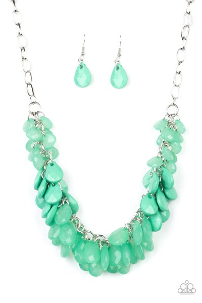 Paparazzi Necklace ~ Colorfully Clustered - Green