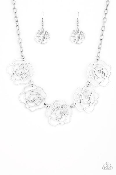 Paparazzi Necklace ~ Budding Beauty - Silver