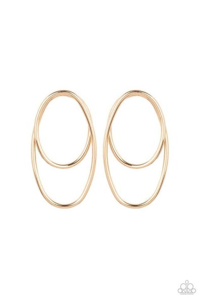 Paparazzi Earring PREORDER ~ So OVAL-Dramatic - Gold