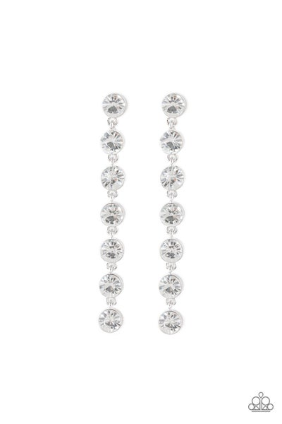 Paparazzi Earring ~ Dazzling Debonair - White