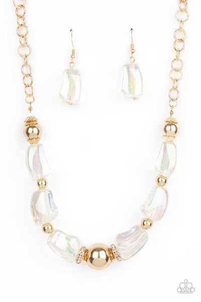 Paparazzi Necklace ~ Iridescently Ice Queen - Gold