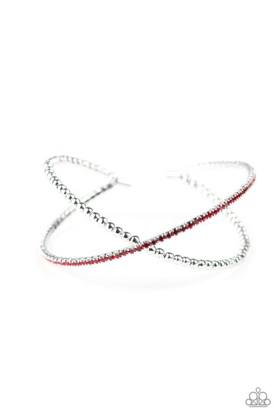 Paparazzi Bracelet ~ Chicly Crisscrossed - Red
