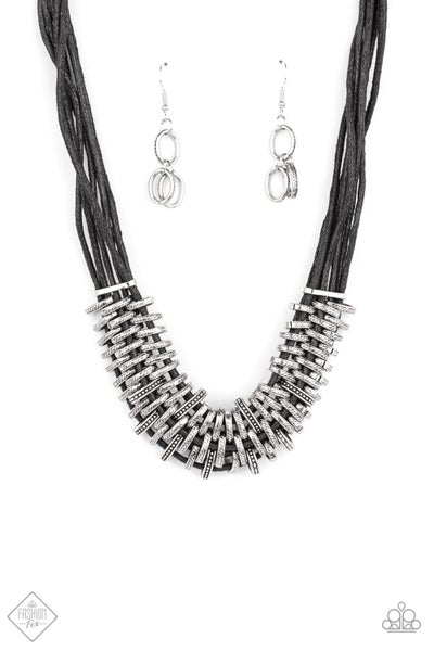 Paparazzi Necklace Fashion Fix April 2021 ~ Lock, Stock, and SPARKLE - Black