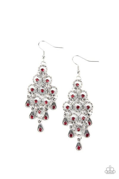 Paparazzi Earring ~ Chandelier Cameo - Red