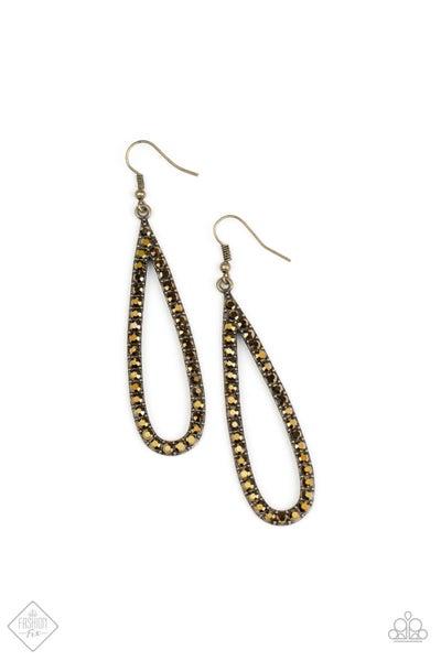 Paparazzi Earring Fashion Fix Aug2020 ~ Glitzy Goals - Brass