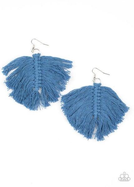 Paparazzi Earring ~ Macrame Mamba - Blue