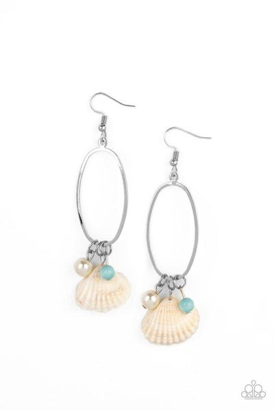 Paparazzi Earring ~ This Too SHELL Pass - Blue