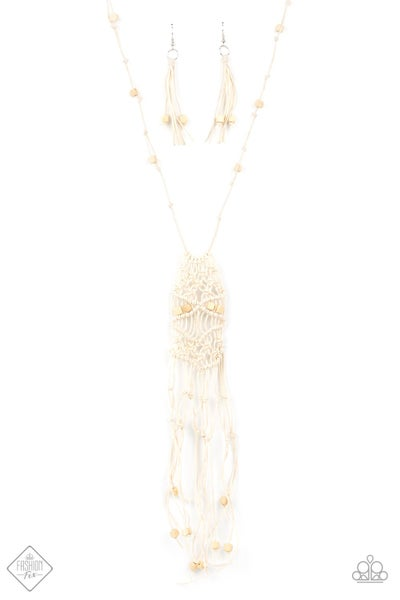 Paparazzi Necklace ~ Macrame Majesty - Fashion Fix Nov 2020 - White