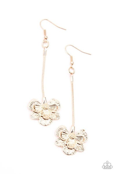 Paparazzi Earring ~ Opulently Orchid - Rose Gold