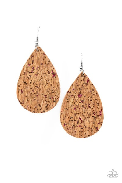 Paparazzi Earring ~ CORK It Over - Pink