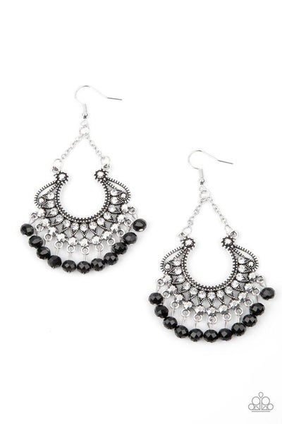 Paparazzi Earring PREORDER ~ GLOW Down In Flames - Black