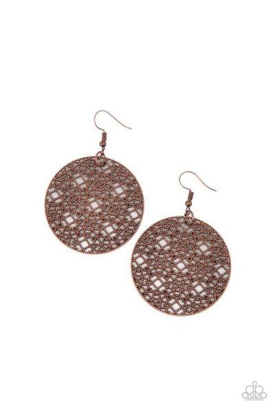 Paparazzi Earring ~ Metallic Mosaic - Copper