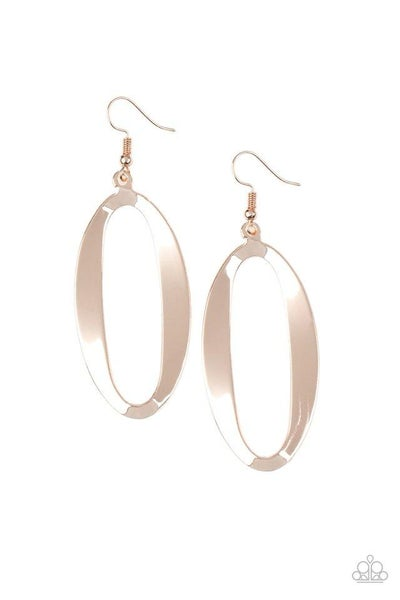 Paparazzi Earring ~ OVAL My Head - Rose Gold