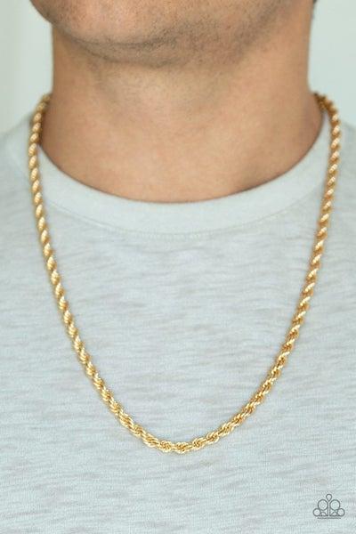 Men's Paparazzi Necklace ~ Double Dribble - Gold