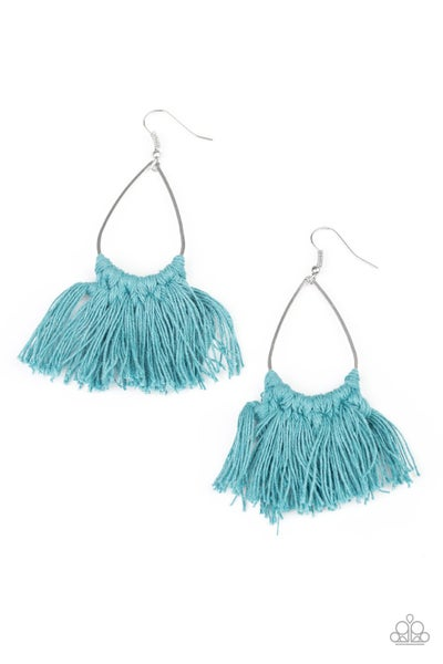 Paparazzi Earring ~ Tassel Treat - Blue