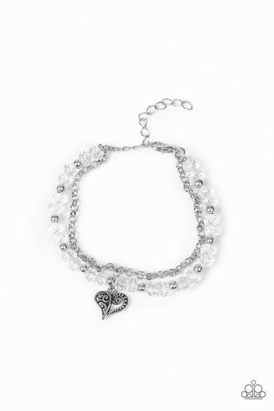 Paparazzi Bracelet ~ Rare Romance - White