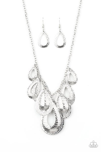 Paparazzi Necklace ~ Teardrop Tempest - Silver