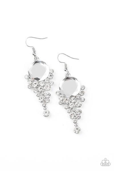 Paparazzi Earring ~ Elegantly Effervescent - White