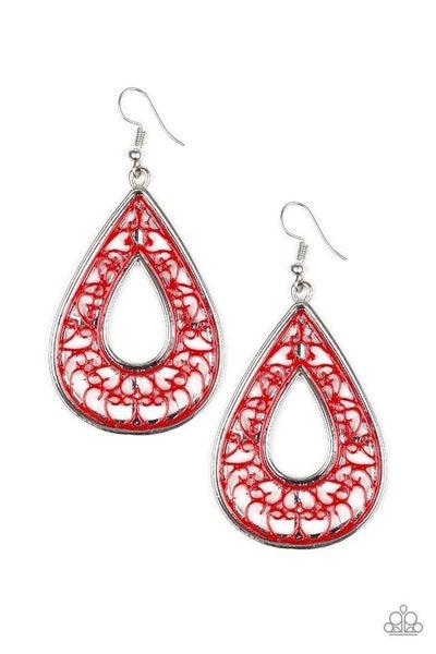 Paparazzi Earring ~ Drop Anchor - Red