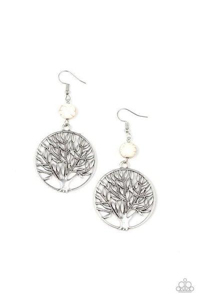 Paparazzi Earring ~ Bountiful Branches - White