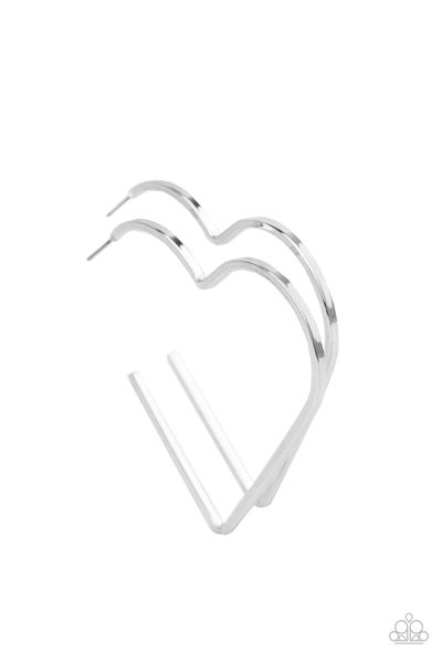 Paparazzi Earring ~ I HEART a Rumor - Silver