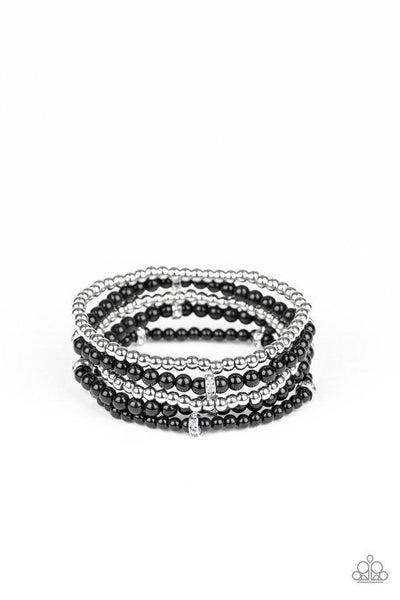 Paparazzi Bracelet ~ Fiercely Frosted - Black