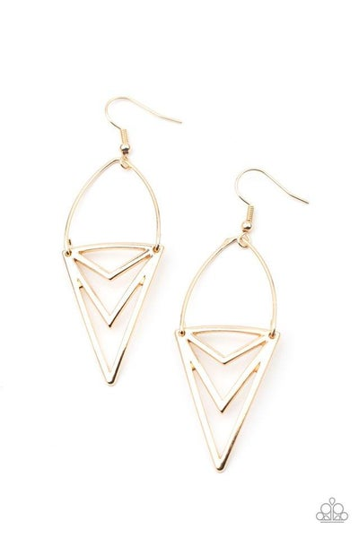 Paparazzi Earring ~ Proceed With Caution - Gold