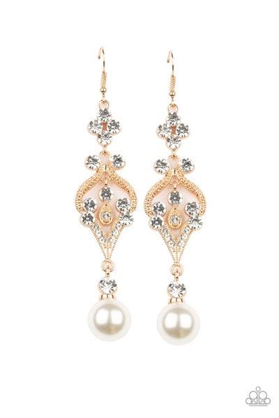 Paparazzi Earring ~ Elegantly Extravagant - Gold