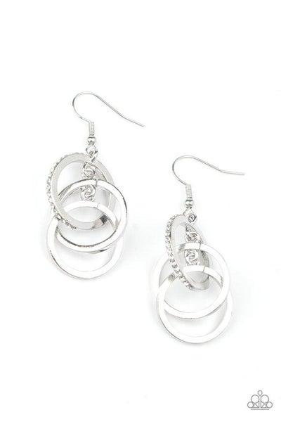 Paparazzi Earring ~ Fiercely Fashionable - White