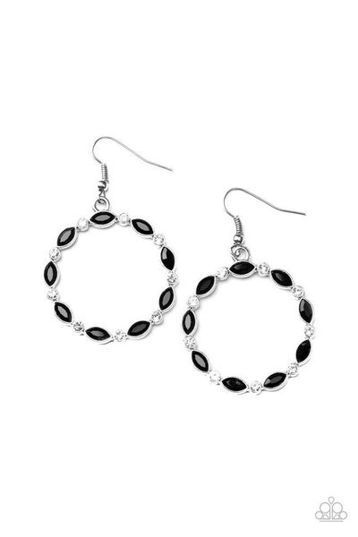 Paparazzi Earring ~ Crystal Circlets - Black