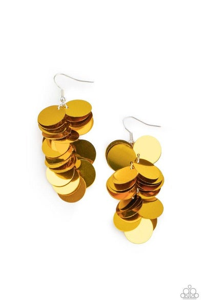 Paparazzi Earring ~ Now You SEQUIN It - Gold