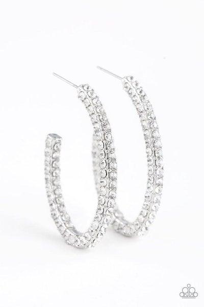 Paparazzi Earring ~ Big Winner - White