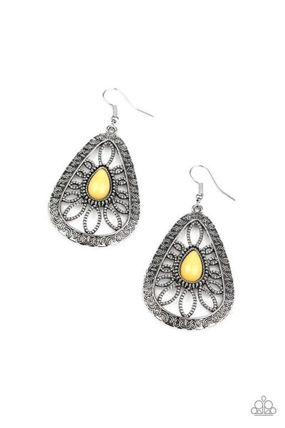 Paparazzi Earring ~ Floral Frill - Yellow