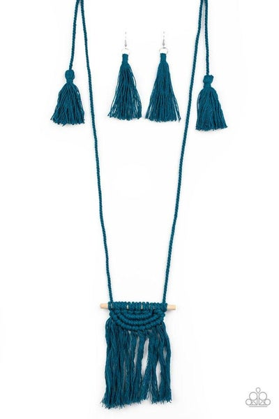 Paparazzi Necklace ~ Between You and MACRAME - Blue