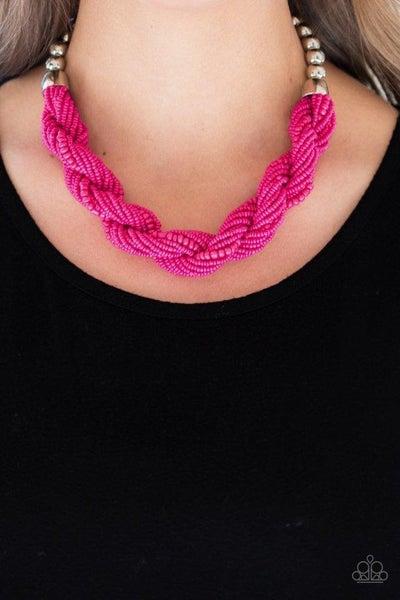 Paparazzi Necklace ~ Savannah Surfin - Pink