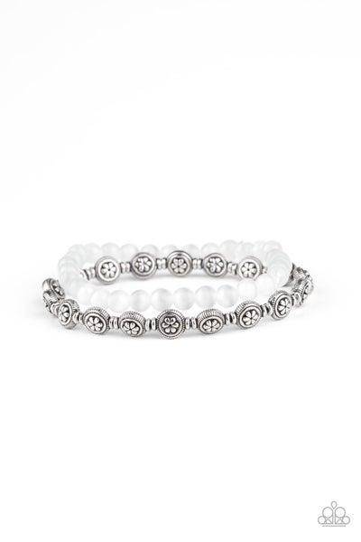 Paparazzi Bracelet ~ Dewy Dandelions - White