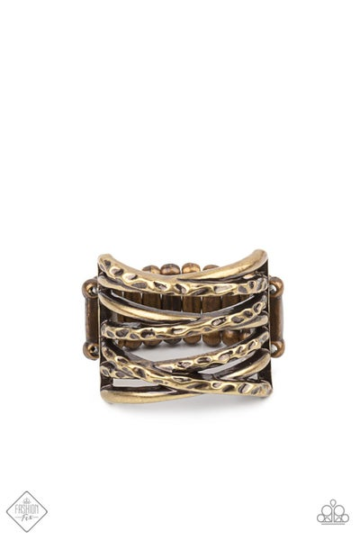 Paparazzi Ring Fashion Fix Jan 2021 ~ Switching Gears - Brass