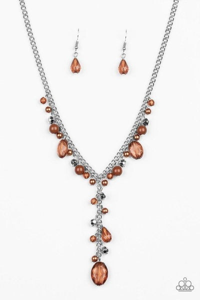 Paparazzi Necklace ~ Crystal Couture - Brown
