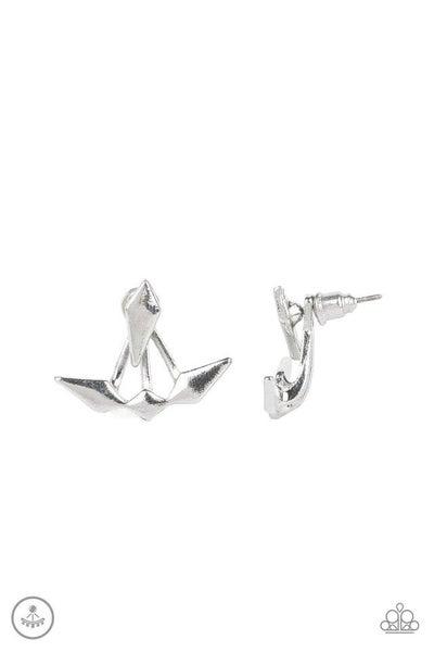 Paparazzi Earring ~ Metal Origami - Silver