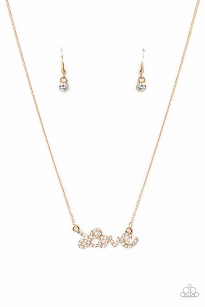 Paparazzi Necklace ~ Head Over Heels In Love - Gold