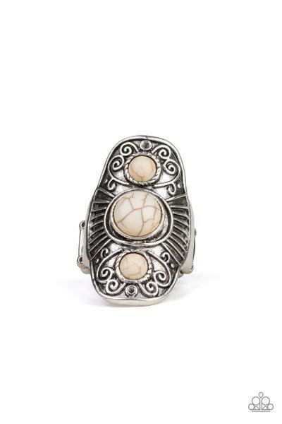 Paparazzi Ring EMP Exclusive ~ Stone Oracle - White