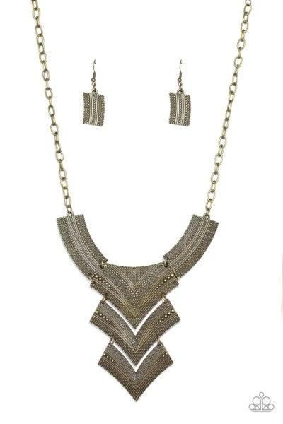 Paparazzi Necklace ~ Fiercely Pharaoh - Brass