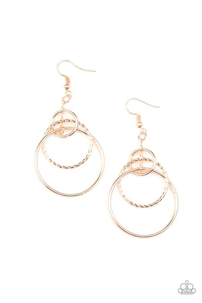 Paparazzi Earrings - Three Ring Couture - Rose Gold
