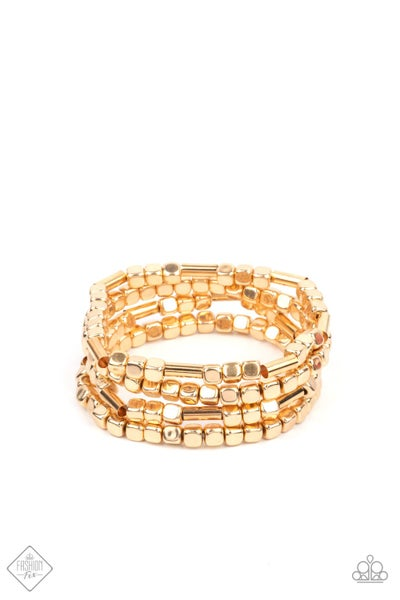 Paparazzi Bracelet Fashion Fix April 2021 ~ Metro Materials - Gold