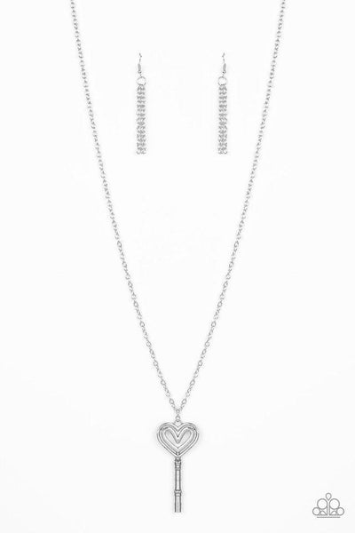 Paparazzi Necklace ~ Unlock My Heart - Silver