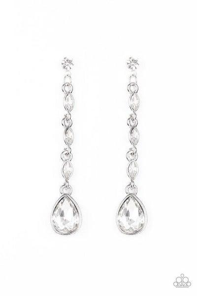 Paparazzi Earring ~ Must Love Diamonds - White